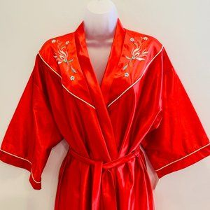 Vintage Lorelei Silky Red Robe with Floral Detail